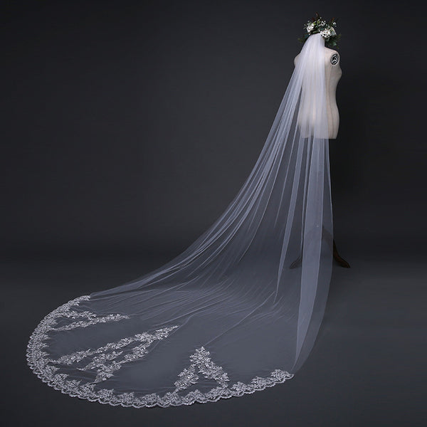 Shining Appliques Veil Long Tulle Sequined Wedding Veil WV008