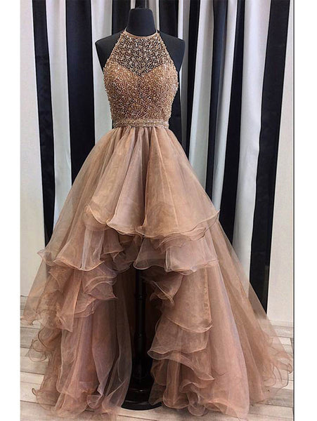 A-line Beaded Bodice Halter Organza High Low Prom Dresses APD2766