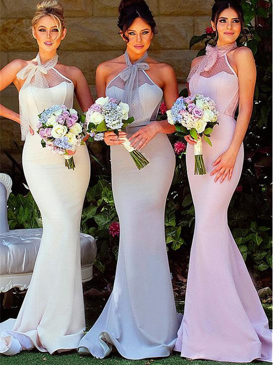 Wonderful Acetate Satin Halter Neckline Sheath Bridesmaid Dresses BD030
