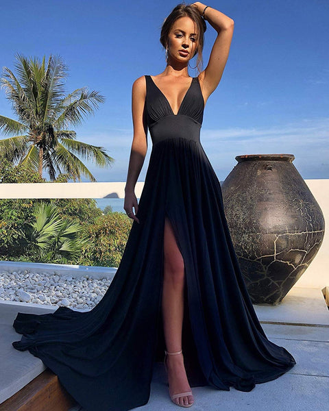 Elegant Spandex V-neck Neckline Floor-length A-line Bridesmaid Dresses With Slit BD051