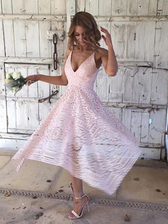 Outstanding Lace Spaghetti Straps Neckline Tea-length A-line Bridesmaid Dresses BD089