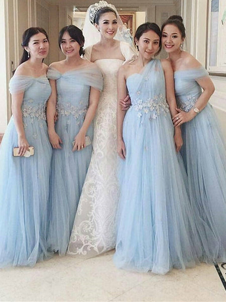 Graceful Tulle Appliqued Floor-length A-line Bridesmaid Dresses BD106