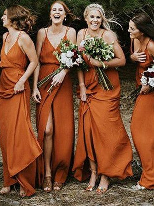 Charming Satin Spaghetti Straps A-line Bridesmaid Dresses With Slit BD109