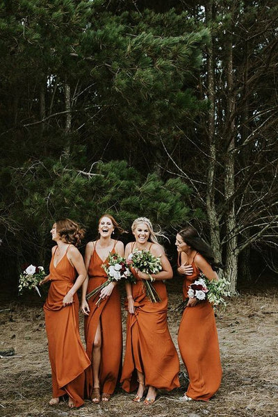 Charming Filament Spaghetti Straps A-line Bridesmaid Dresses With Slit BD109