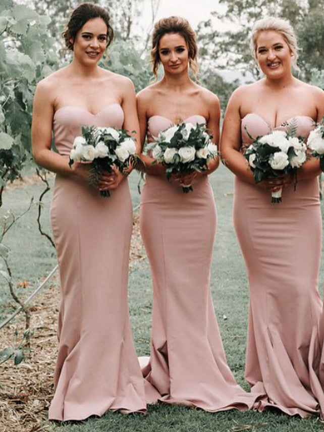Exquisite Stretch Satin Sweetheart Mermaid Bridesmaid Dresses BD112