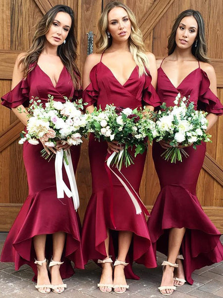 Popular Satin Spaghetti Straps Mermaid Hi-lo Bridesmaid Dresses BD115