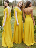 Elegant V-neck A-line Bridesmaid Dresses Chiffon Short Sleeves Gowns BD122