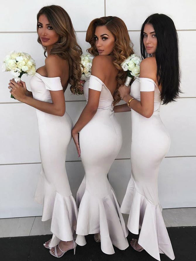 Cheap Off-the-shoulder Mermaid Bridesmaid Dresses With Cap Sleeves BD133