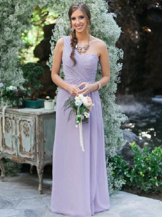 Alluring Chiffon A-line Bridesmaid Dresses Long Sleeveless Gowns BD135