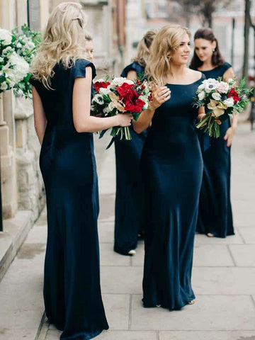 Bateau Sheath Bridesmaid Dresses With Cap Sleeves Long Gowns BD138
