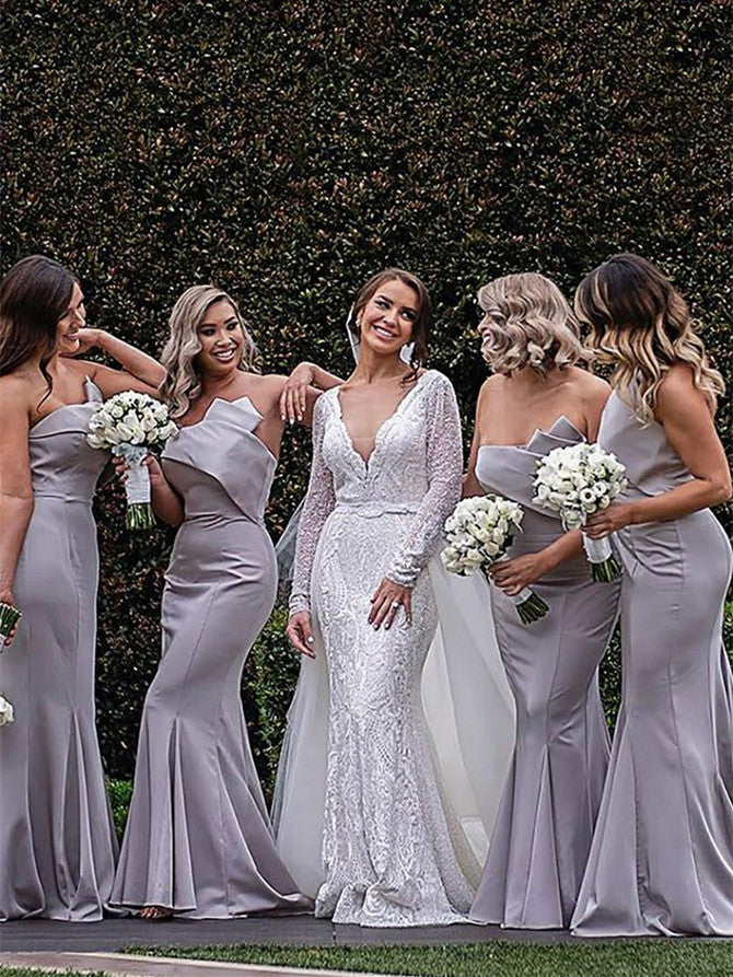 Fantastic Strapless Mermaid Bridesmaid Dresses Satin Long Gowns BD144