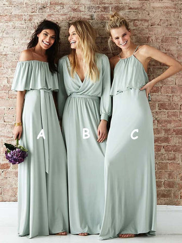 3 Types A-line Bridesmaid Dresses Long Chiffon Party Gowns BD145