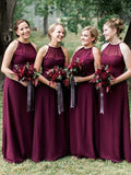 Jewel Illusion A-line Bridesmaid Dresses Chiffon Long Gowns BD146