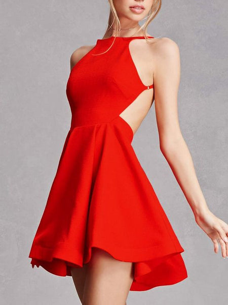 Sexy Satin Jewel Neckline backless Short A-line Cocktail Dresses CD019
