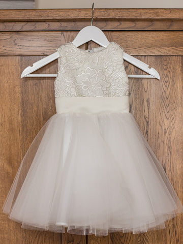Sweet Lace & Tulle Jewel Neckline A-line Flower Girl Dresses FD086