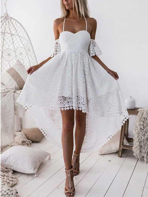 Sexy Lace A-line Homecoming Dresses Spaghetti Straps Gowns HD008