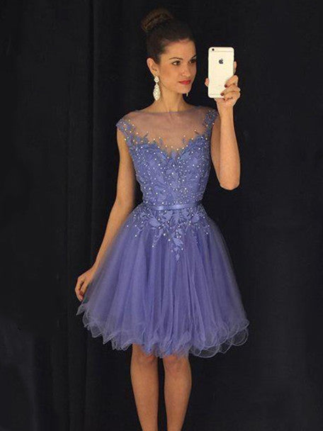 Attractive Tulle Bateau Neckline A-line Homecoming Dresses With Beaded Appliques HD029