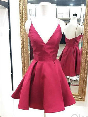 Fabulous Satin Spaghetti Straps Neckline Short Length A-line Homecoming Dress HD038
