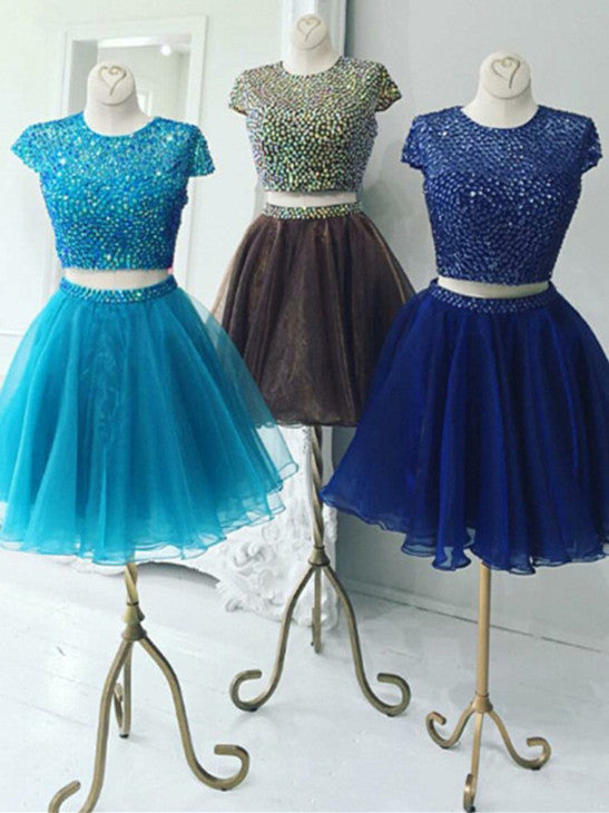 Shining Tulle Jewel Neckline 2 Pieces A-line Homecoming Dresses With Beadings HD082