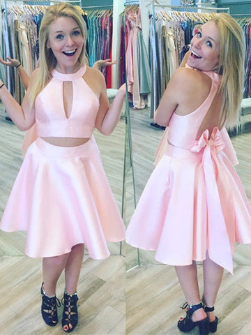 Fashionable Satin Jewel Neckline 2 Pieces A-line Homecoming Dresses With Bowknot HD102