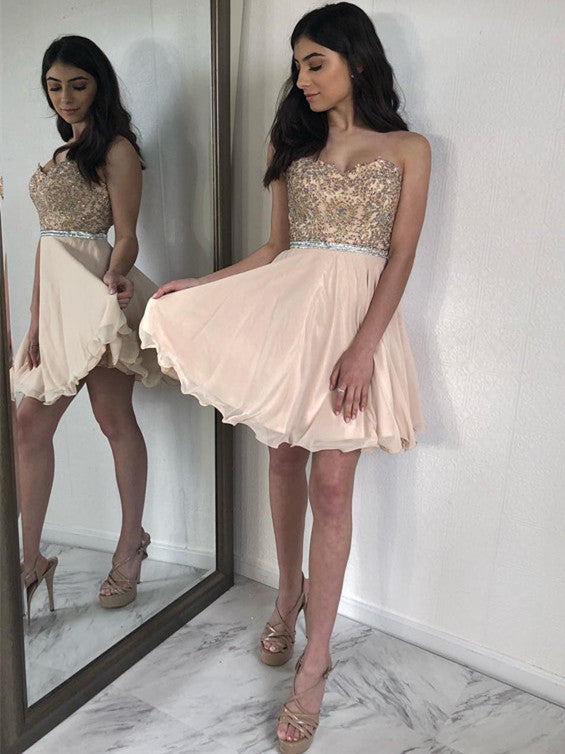 Sparkly Satin Chiffon Sweetheart Neckline A-line Homecoming Dresses HD136