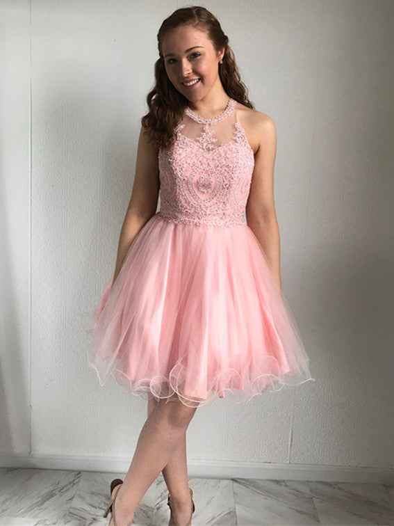Shimmering Tulle Jewel Neckline Short A-line Homecoming Dresses HD139