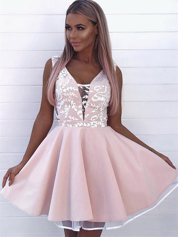 Modern Tulle Homecoming Dresses Appliqued A-line Short Gowns HD147