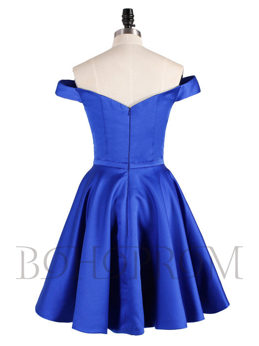 Simple Satin Off-the-shoulder Neckline  Short A-line Homecoming Dresses HD152