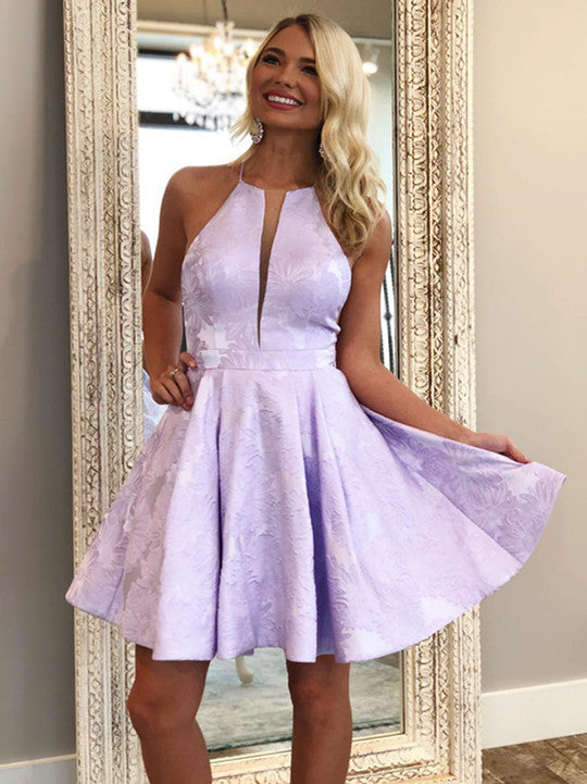 Glamorous Satin Halter Neckline Short A-line Homecoming Dresses HD159