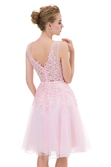 Excellent Tulle Scoop Neckline A-line Homecoming Dresses With Appliques HD184