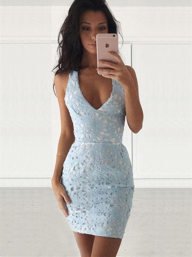 Unique Sheath Homecoming Dresses Lace Short Prom Gowns HD185