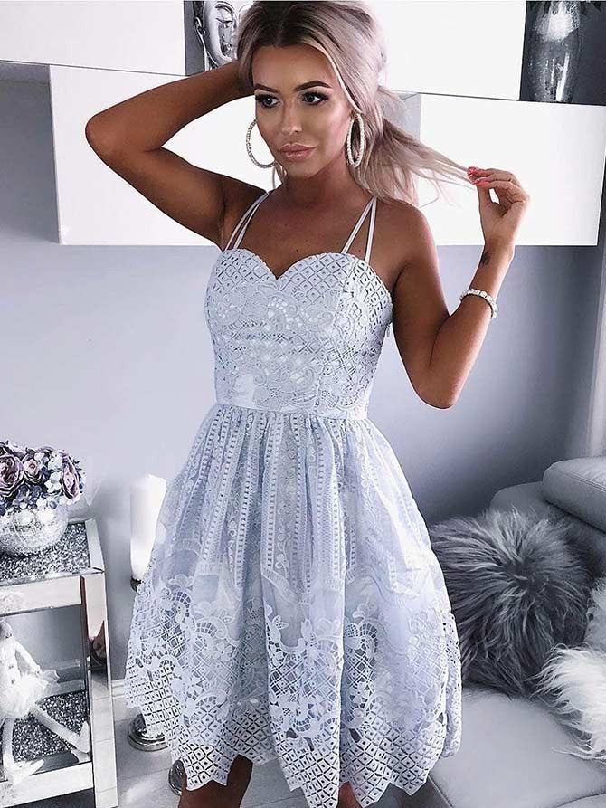 Glamorous Lace Spaghetti Straps Neckline Short A-line Homecoming Dresses HD197