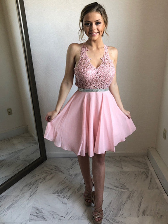 Sexy Chiffon Halter Neckline A-line Homecoming Dresses With Appliques HD211