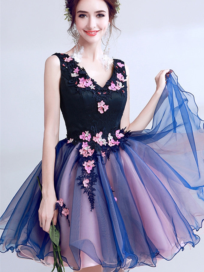 Unique Satin & Tulle V-neck Neckline Short A-line Homecoming Dresses HD222