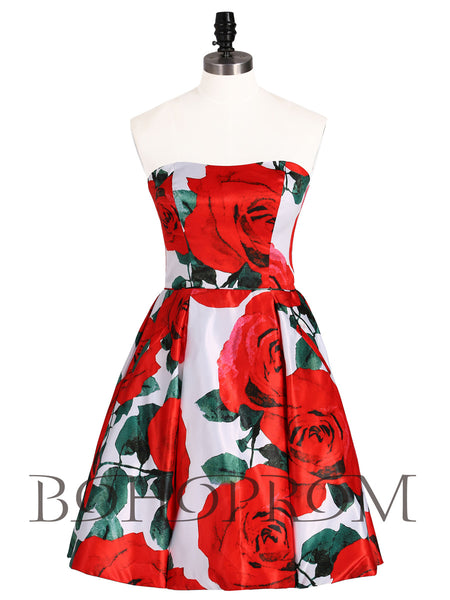 Popular Satin Strapless Neckline Short A-line Homecoming Dresses HD225