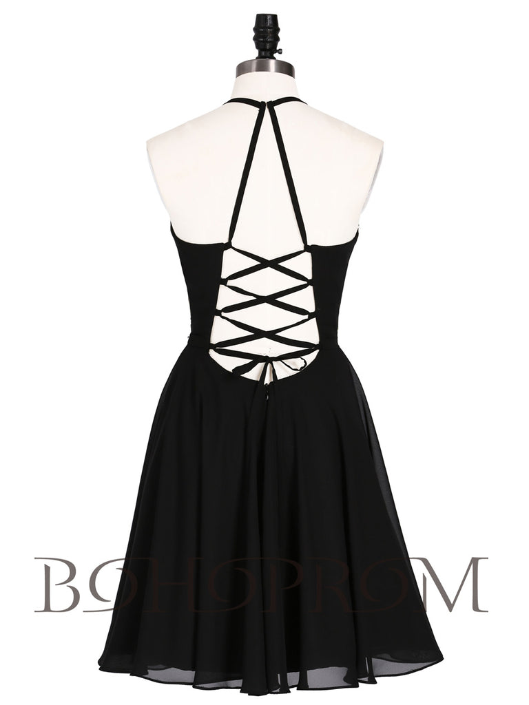 Wonderful Chiffon Halter Neckline Short A-line Homecoming Dresses HD227