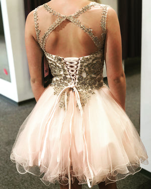 Fabulous Tulle Scoop Neckline A-line Homecoming Dresses With Beaded Appliques HD231