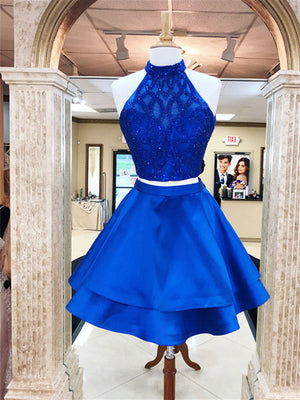 Brilliant Satin Halter Neckline 2 Pieces A-line Homecoming Dresses HD232
