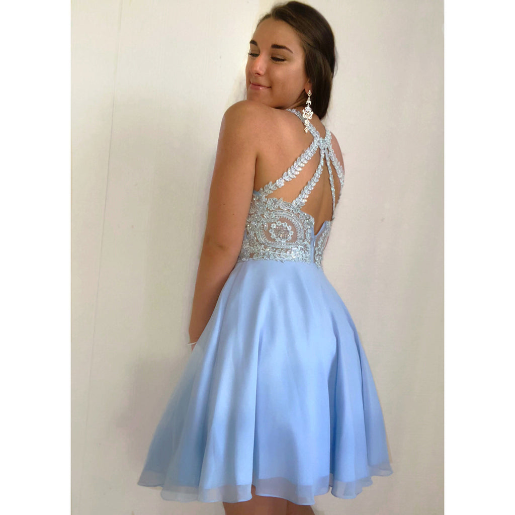 Fantastic Tulle Jewel Neckline A-line Homecoming Dresses With Beaded Appliques HD235