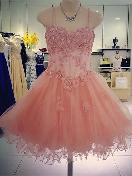 Glamorous Tulle Spaghetti Straps Neckline A-line Homecoming Dresse HD243