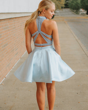 Modest Satin Halter Neckline 2 Pieces A-line Homecoming Dresses HD245