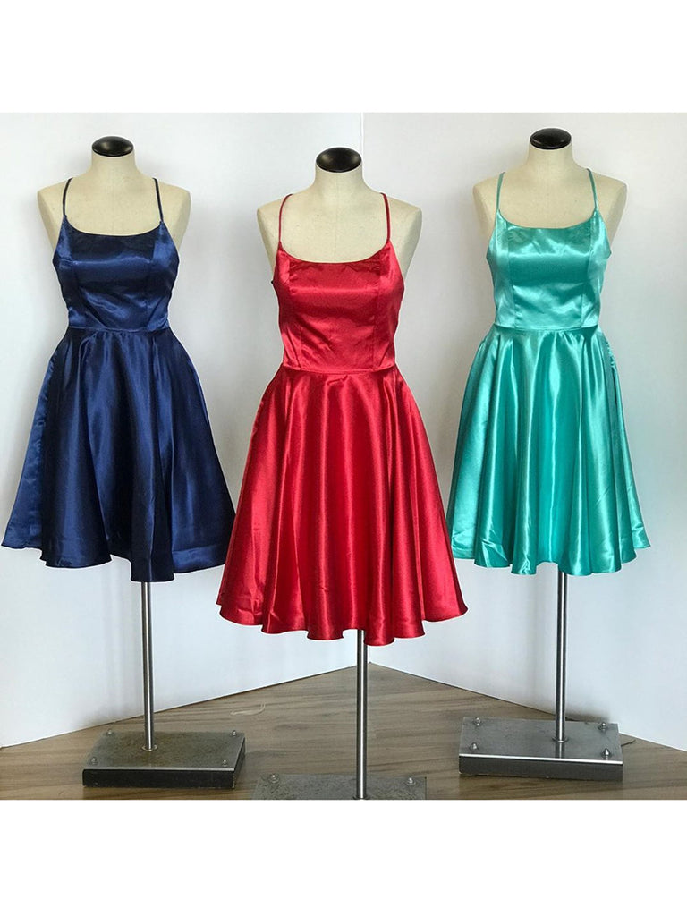 Cheap Satin Homecoming Dresses A-line Short Party Gowns HD249