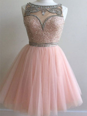 Shining Tulle Bateau Neckline A-line Homecoming Dresses HD258