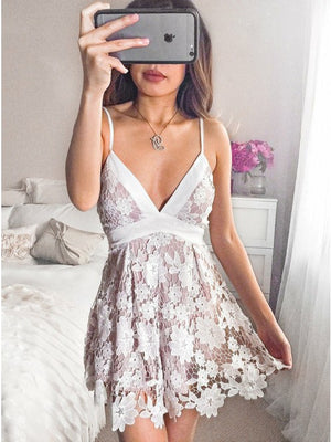 Exquisite Lace Spaghetti Straps Neckline Short A-line Homecoming Dresses HD262