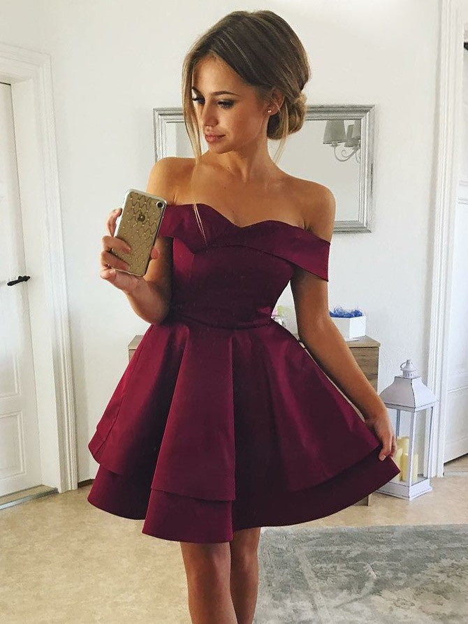 Modest Satin Off-the-shoulder Neckline A-line Homecoming Dresses HD273