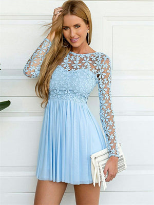 Beautiful Chiffon & Lace Jewel Neckline A-line Homecoming Dresses HD275