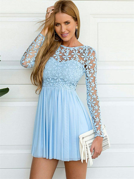 Beautiful Chiffon & Lace Jewel Neckline A-line Cocktail Dresses CD076