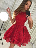 Graceful Lace Jewel Neckline Cap Sleeves A-line Cocktail Dresses CD077