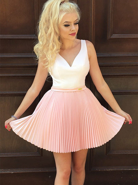 Outstanding Satin & Tulle V-neck Neckline Short A-line Cocktail Dresses CD078