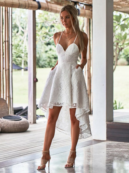 Brilliant Lace Spaghetti Straps Hi-lo A-line Wedding Guest Dresses WG016